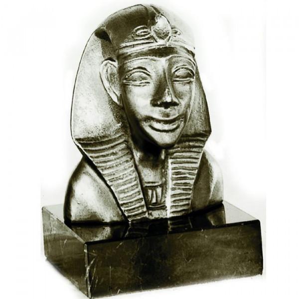 Figur Büste König v. Theben Pharao Ägypten Metalloptik