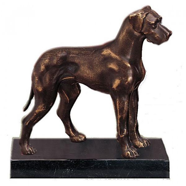 Figur Dogge Hund Hundetrainer Edle Bronzeoptik Tropäe Vereinspreis