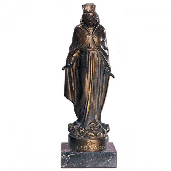 Figur St Barbara Schutzheilige Bergbau Bergleute Ehrung Trophäe