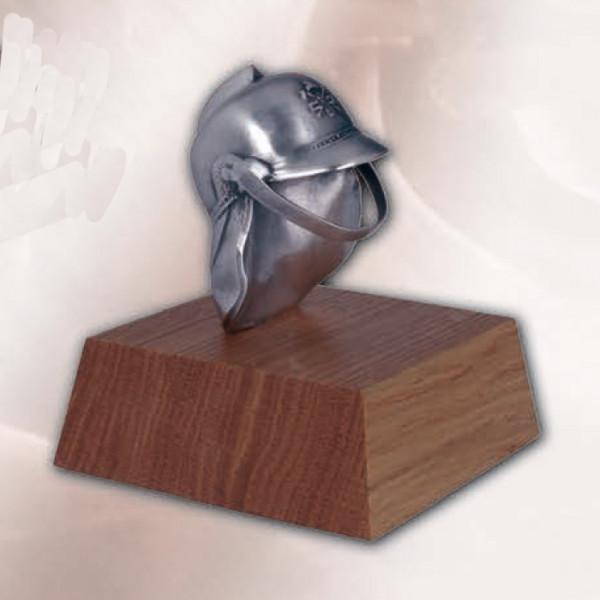 Metall Trophäe Feuerwehr Helm Vereinspokal Auszeichnung Silberoptik