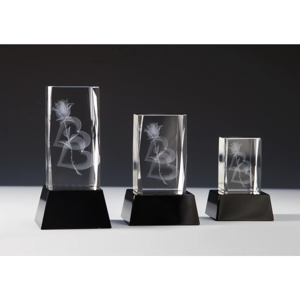 Quader Sockel Kristallglas Herzrose Jennifer