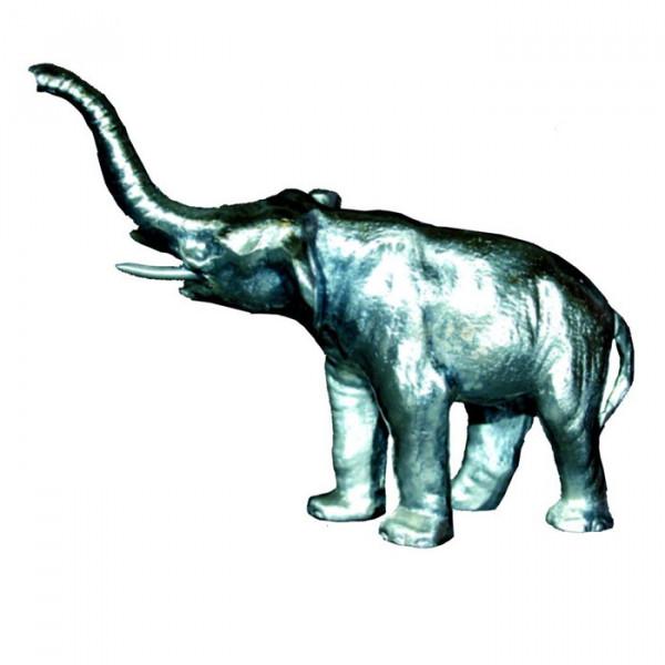Figur Elefant Ehrung Hochwetige Silberoptik auf Sockel