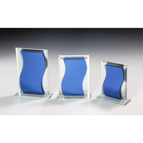 Spiegelglas Glas Trophäe Blau Julio