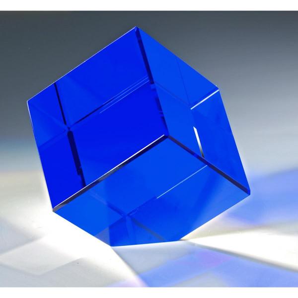 "Kristallglas Würfel ""Blue Quadro"""