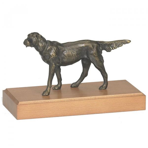 Elegante Figur Hund Setter Bronzeoptik Ehrenpreis