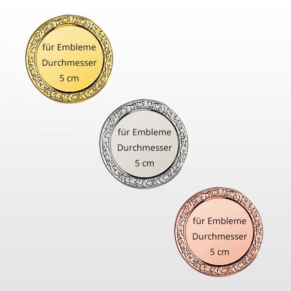 Alukränze für 5cm Embleme in Gold, Silber, Bronze