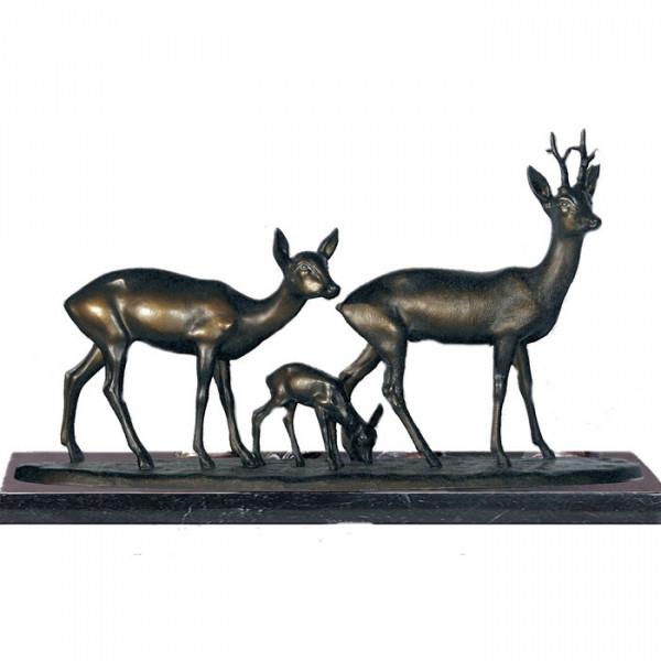 Hochwertige Figur Rehgruppe Rehkitz - Ricke - Rehbock Wild Bronzeoptik