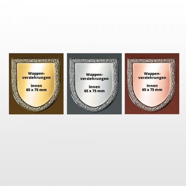 Alukränze für Wappen 65x75mm in Gold, Silber, Bronze