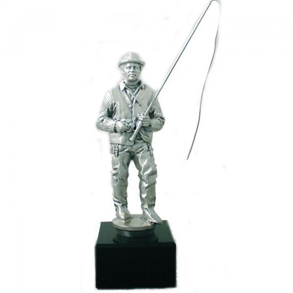 Figur Angler Fischer Herren Verein Pokal Edles Silberdesign