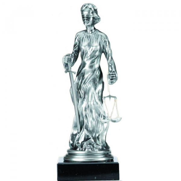 Edles Silberdesign Figur Justitia Augenbinde Jura Recht Antikes Rom