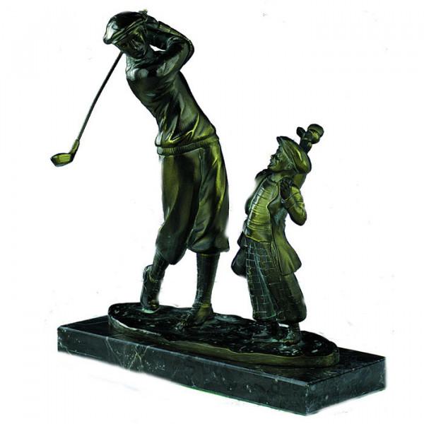 Retro Trophäe Golfer mit Caddie