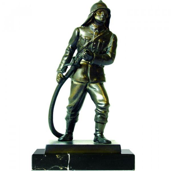 Exklusive Silberoptik Figur Brandmeister Feuerwehr Ehrenpreis