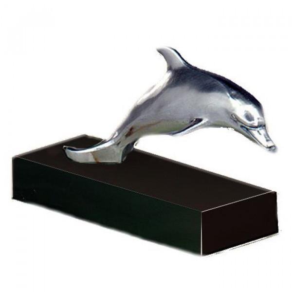 Elegante Figur Delphin Edelmetalloptik Ehrung Trophäe