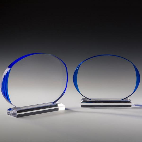 "Acrylglas Trophäe ""Blue glossy lens"""