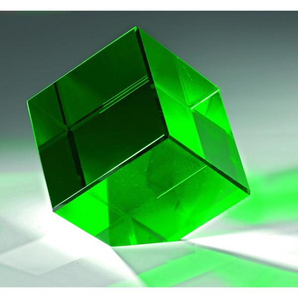 "Kristallglas Würfel ""Green Quadro"""