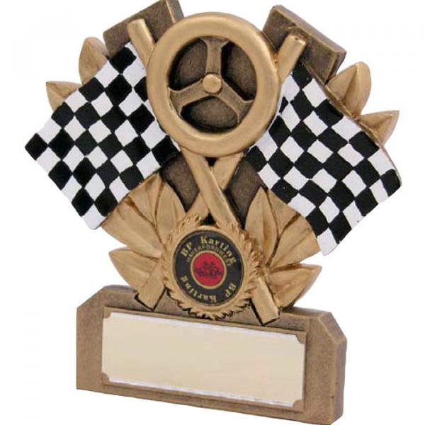 Figur Zielflagge Rennsport Siegerehrung Pokal Trophy